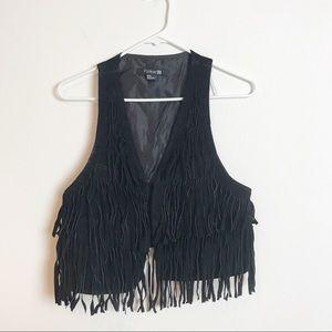 Forever 21 Black Fringe Vest